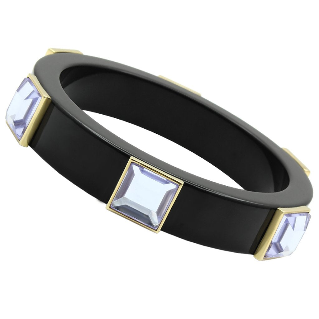 VL031 - IP Gold(Ion Plating) Brass Bangle with Synthetic Acrylic in Light Amethyst