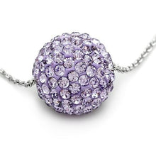 Load image into Gallery viewer, VL056 - Rhodium Brass Chain Pendant with Top Grade Crystal  in Light Amethyst