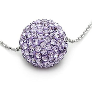 VL056 - Rhodium Brass Chain Pendant with Top Grade Crystal  in Light Amethyst