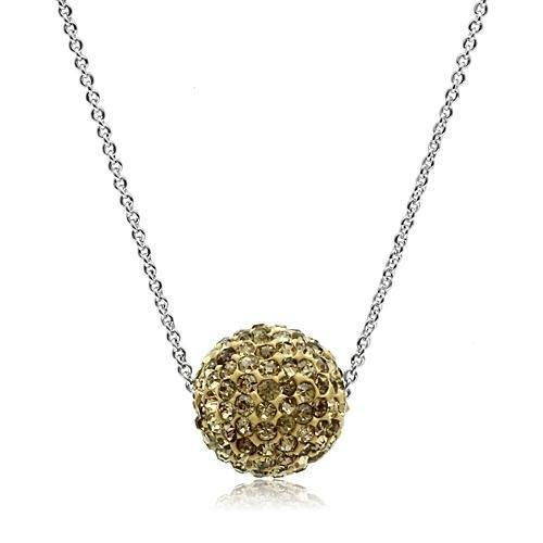 VL057 - Rhodium Brass Chain Pendant with Top Grade Crystal  in Topaz