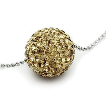Load image into Gallery viewer, VL057 - Rhodium Brass Chain Pendant with Top Grade Crystal  in Topaz