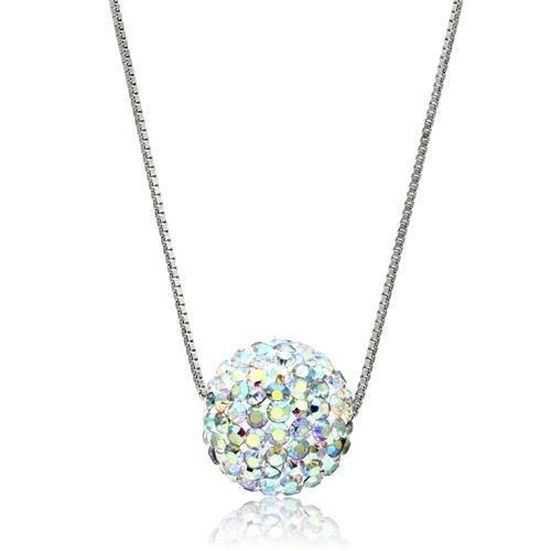 VL062 - Rhodium Brass Chain Pendant with Top Grade Crystal  in Aurora Borealis (Rainbow Effect)
