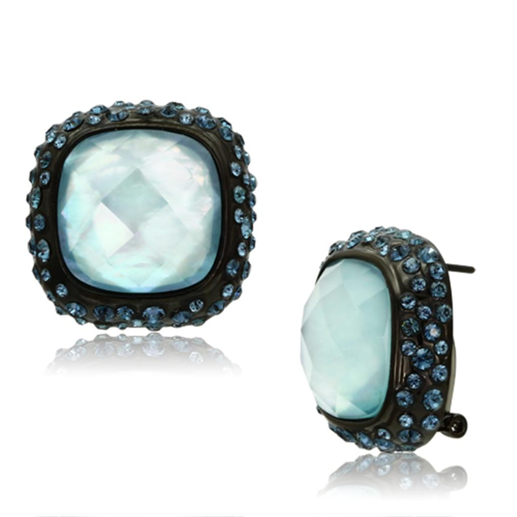 VL065 - IP Black(Ion Plating) Brass Earrings with Synthetic Synthetic Glass in Sea Blue