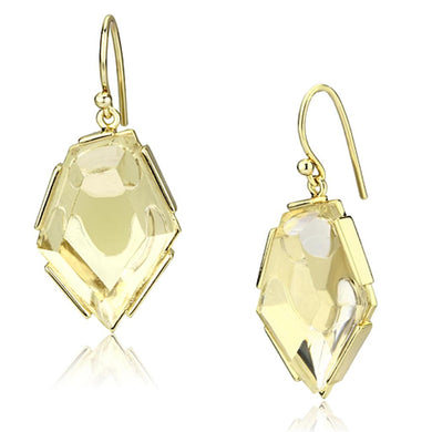 VL066 - IP Gold(Ion Plating) Brass Earrings with Synthetic Synthetic Stone in Clear
