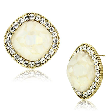 VL067 - IP Gold(Ion Plating) Brass Earrings with Precious Stone Conch in White