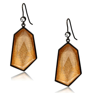 VL070 - IP Black(Ion Plating) Brass Earrings with Synthetic Synthetic Stone in Orange