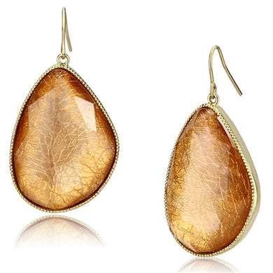 VL071 - IP Gold(Ion Plating) Brass Earrings with Synthetic Synthetic Stone in Orange