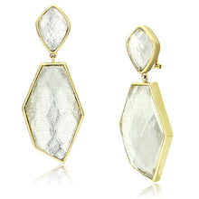 Load image into Gallery viewer, VL075 - IP Gold(Ion Plating) Brass Earrings with Synthetic Synthetic Stone in White