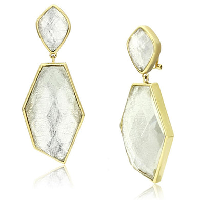 VL075 - IP Gold(Ion Plating) Brass Earrings with Synthetic Synthetic Stone in White