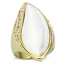 Load image into Gallery viewer, VL082 - IP Gold(Ion Plating) Brass Ring with Synthetic Cat Eye in White