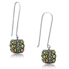 Load image into Gallery viewer, VL090 - High polished (no plating) Stainless Steel Earrings with Top Grade Crystal  in Multi Color