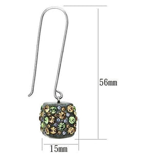 VL090 - High polished (no plating) Stainless Steel Earrings with Top Grade Crystal  in Multi Color