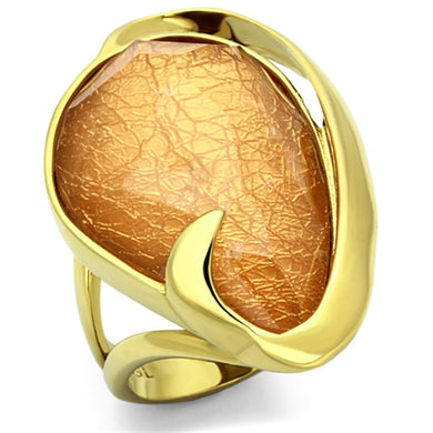 VL098 - IP Gold(Ion Plating) Stainless Steel Ring with Synthetic Synthetic Stone in Orange