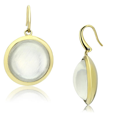 VL102 - IP Gold(Ion Plating) Brass Earrings with Synthetic Synthetic Stone in Clear