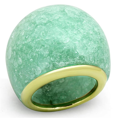 VL110 - IP Gold(Ion Plating) Stainless Steel Ring with Synthetic Synthetic Stone in Emerald