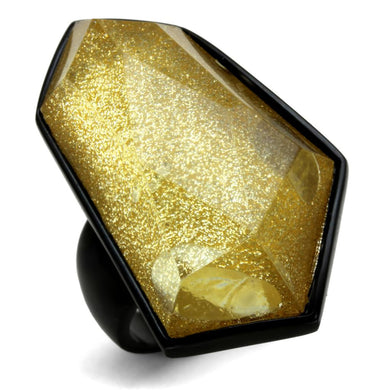 VL117 - IP Black(Ion Plating) Stainless Steel Ring with Synthetic Synthetic Stone in Citrine Yellow