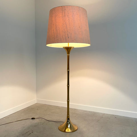 Vintage 70s floor lamp with brass and linen