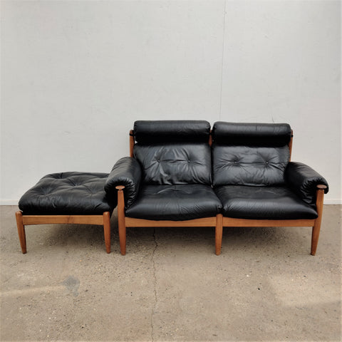 Vintage leather sofa with hocker by Eric Merthen, 1960s