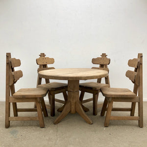 Solid Oak Brutalist chairs with table, Spain 1970s