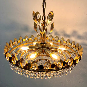 Brass, crystal chandelier by Palwa, 1970s