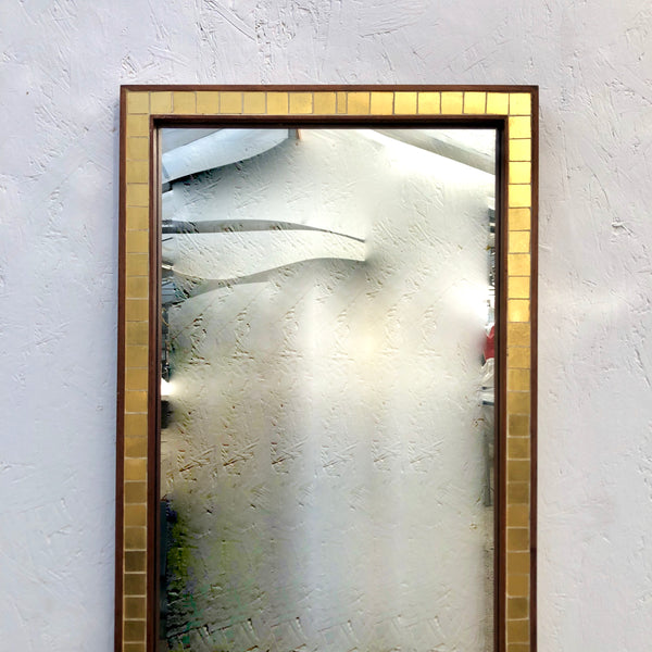Vintage mirror with brass and teak, 1960s