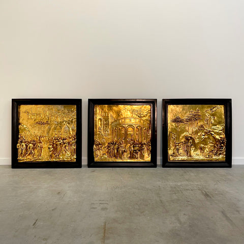 "Three Italian gilded bronze relief panels from ""The Gates of Paradise"""