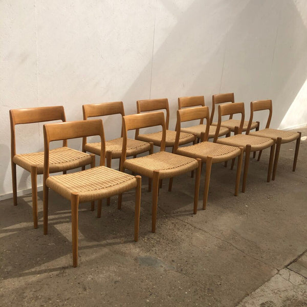 Set of 10 Møller dining chairs, model 77, papercord