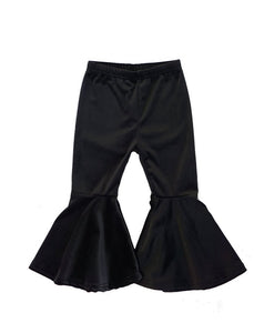 Black Flared Velvet Bell Pants