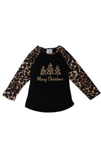 Leopard Christmas Tree Raglan Shirt