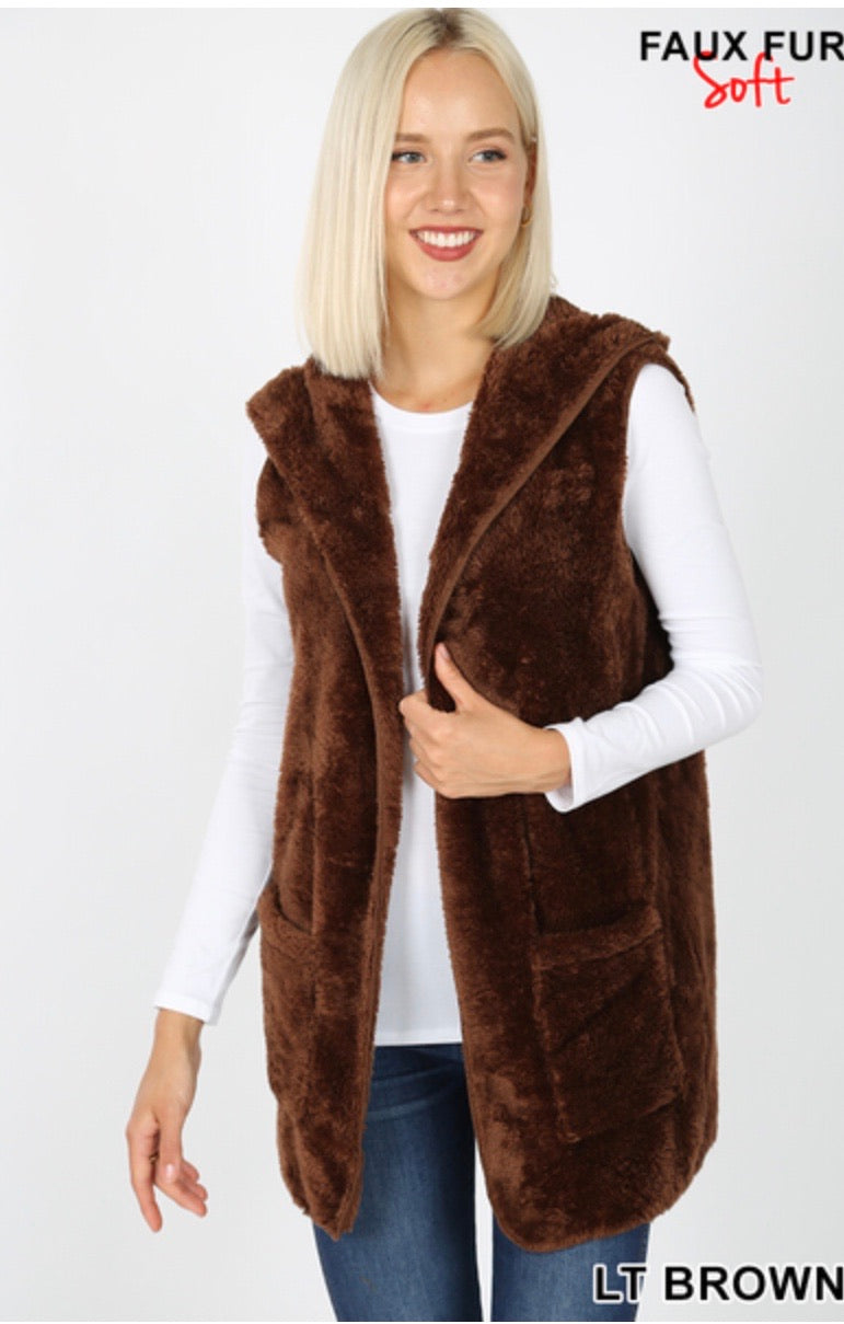 Fur Sweater Vest with Hood