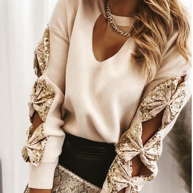 Apricot Sequin Bow Sweater