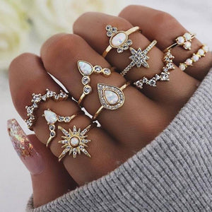 Sparkling Vintage Ring Set/10 rings per Set