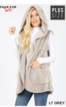 Load image into Gallery viewer, Soft Fur Vest with Hood - Plus