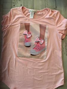 Pink Sneakers Bow Top