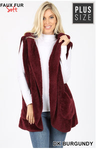 Soft Fur Vest with Hood - Plus