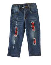 Load image into Gallery viewer, Red & Black Plaid Distressed Jeans