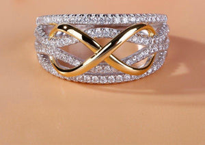 Knotted Infinity Crystal Ring