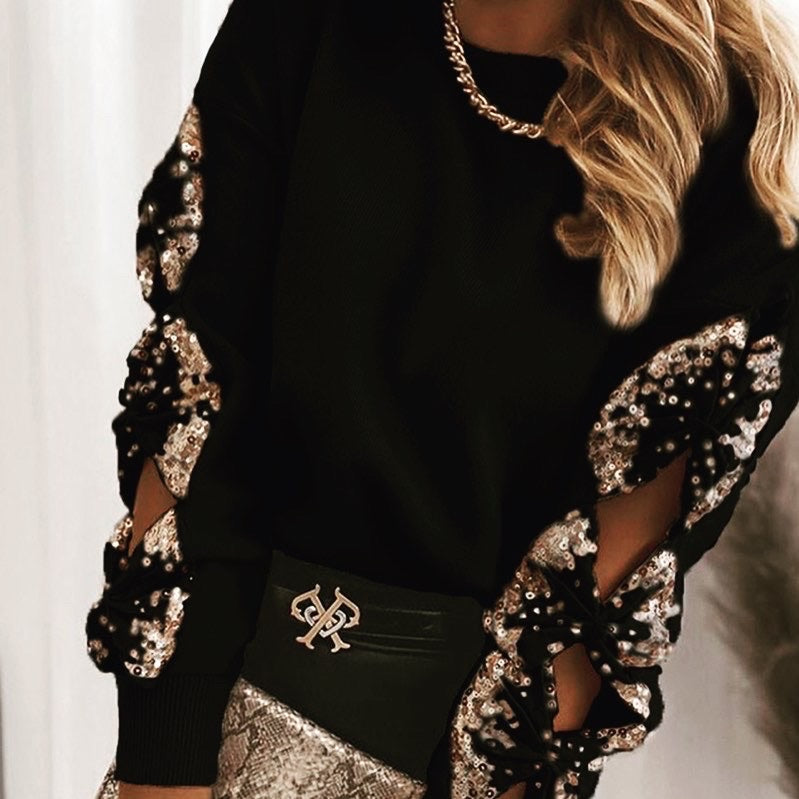 Black Sequin Bow Knot Sweater