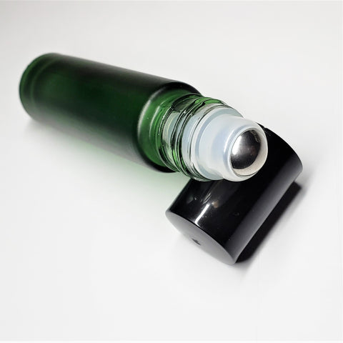 Roll-On Glass Bottles - 10 ml, Steel Ball, Green Frosted Bottle, Black Cap