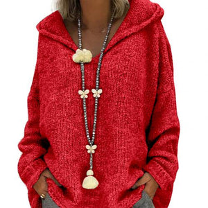 Women Autumn Solid Color Loose Hooded Knitted Sweater Pullover Sweatshirt Top