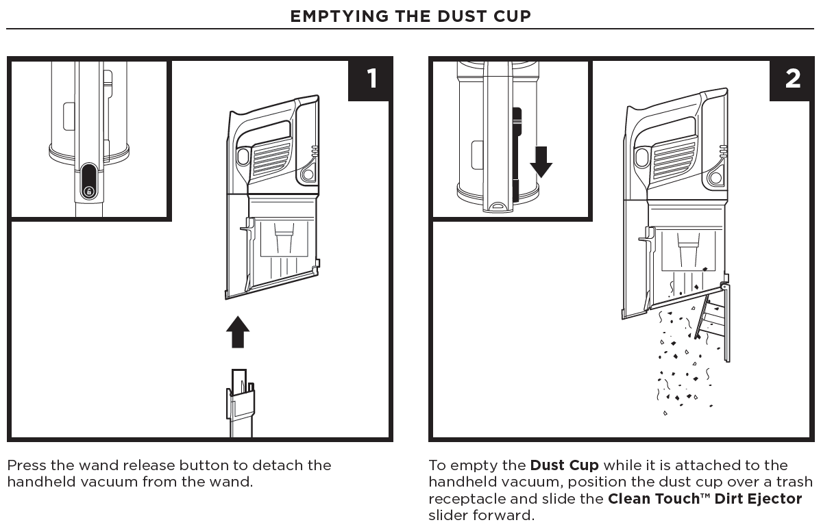 emptying the dust cup