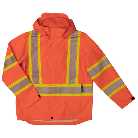 SJ05 Hi-Vis Packable Safety Rain Jacket