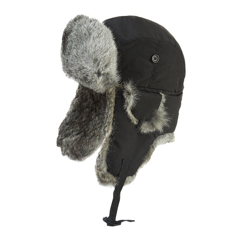 I16016 Taslan Aviator Hat with Rabbit Fur
