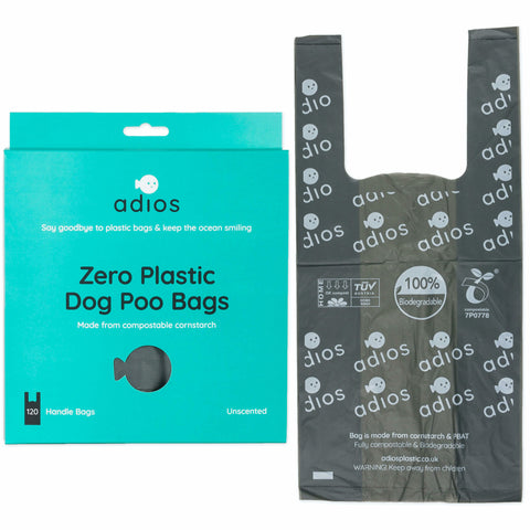 Adios Plastic 120 Compostable Poop Bags with Handles