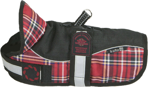"Reflective Black/Red Tartan Padded Harness Coat 8"" (20cm) - 22"" (56cm)"