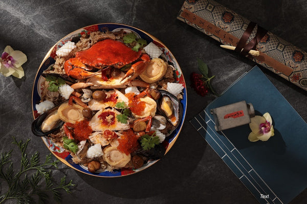 Steamed Glutinous (Sticky) Rice with Mud Crab