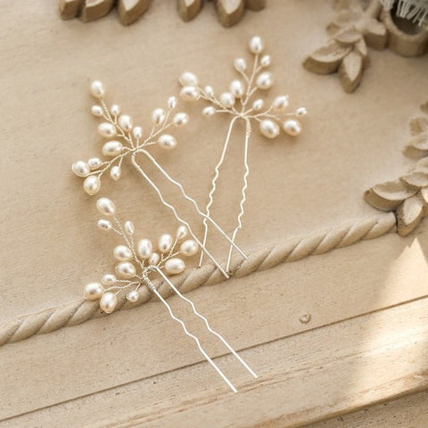 Handmade Freshwater Pearls Wedding Hair Pins Piece