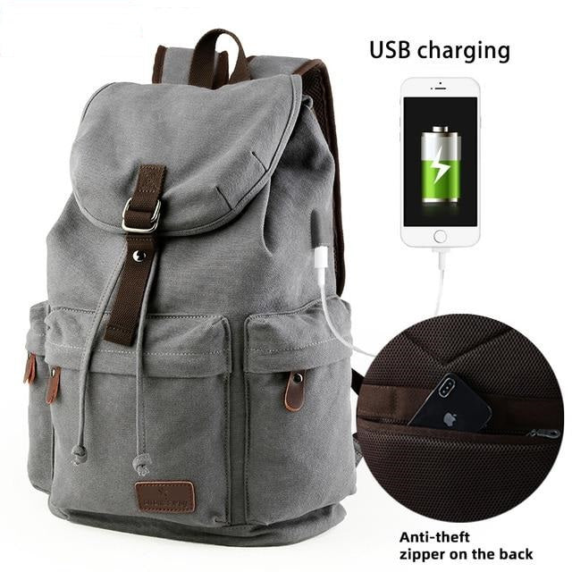 Canvas Rucksack W/ USB Port - Slick Neat