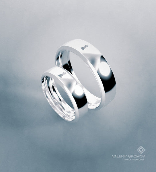 "Pair of ""LOCK"" Wedding Rings"
