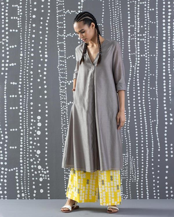 Summer Pleat Kurta - Grey